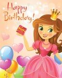 Happy Birthday, Princess, greeting card Royalty Free Stock Photography