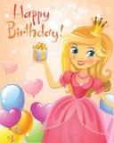 Happy Birthday, Princess, greeting card Royalty Free Stock Image
