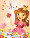 Happy Birthday, Princess, greeting card Stock Images