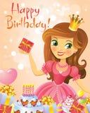 Happy Birthday, Princess, greeting card Stock Images