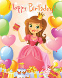 Happy Birthday, Princess, greeting card Royalty Free Stock Images