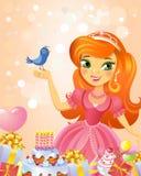 Happy Birthday, Princess, greeting card. Stock Photos