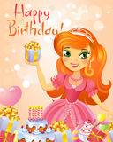 Happy Birthday, Princess, greeting card. Royalty Free Stock Photo