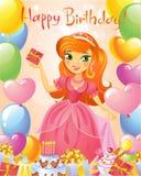 Happy Birthday, Princess, greeting card. Stock Image