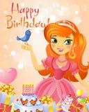 Happy Birthday, Princess, greeting card. Royalty Free Stock Image