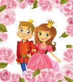 Happy Birthday, Princess and Prince, greeting card. Royalty Free Stock Images
