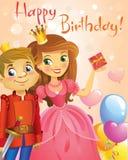 Happy Birthday, Princess and Prince, greeting card. Stock Image