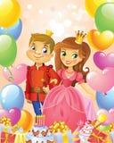 Happy Birthday, Princess and Prince, greeting card. Stock Photo