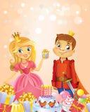 Happy Birthday, Princess and Prince, greeting card. Stock Photography
