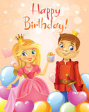 Happy Birthday, Princess and Prince, greeting card. Royalty Free Stock Photography