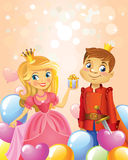 Happy Birthday, Princess and Prince, greeting card. Stock Images