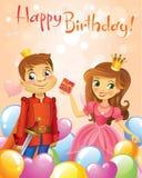 Happy Birthday, Princess and Prince, greeting card. Stock Photos
