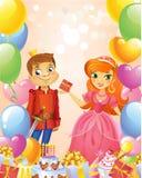 Happy Birthday, Princess and Prince, greeting card. Stock Illustration