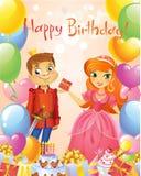 Happy Birthday, Princess and Prince, greeting card. Vector Illustration