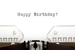 Typewriter Happy Birthday. Happy Birthday printed on an old typewriter stock images