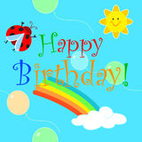 Happy birthday rainbow seamless pattern. Happy birthday for baby with cute cartoon rainbow, sun and ladybird. Vector seamless illustration Stock Photography