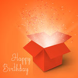 Happy Birthday Realistic Magic Open Box. Magic Box with Confetti Royalty Free Stock Image