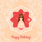 Happy Birthday red card with princess Stock Photo