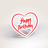 Happy birthday. red paper heart on White background. Vector Stock Photos