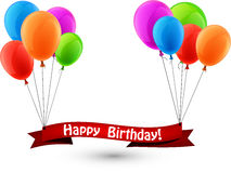 Happy birthday red ribbon background with balloons Stock Photos