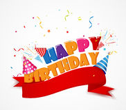 Happy birthday with red ribbon. Illustration of Happy birthday with red ribbon Royalty Free Stock Images