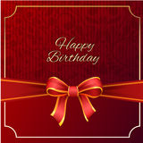 Happy Birthday with red ribbon vector design,vector background. stock photos