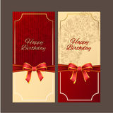 Happy Birthday with red ribbon vector design,vector background. Stock Image