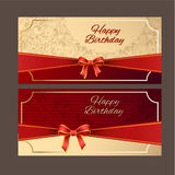 Happy Birthday with red ribbon vector design,vector background. Stock Photo