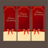 Happy Birthday with red ribbon vector design,vector background. royalty free stock photos