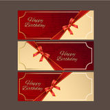 Happy Birthday with red ribbon vector design,vector background. stock images