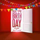 Happy birthday red room with flags Stock Photo