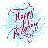 Happy birthday red text on on colored circles background. Hand drawn Calligraphy lettering Vector illustration EPS10.  stock illustration