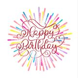 Happy birthday red text on on multi-colored fireworks background. Hand drawn Calligraphy lettering Vector illustration. EPS10 Royalty Free Stock Image