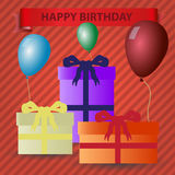 Happy birthday red theme with gifts and balloons Royalty Free Stock Images
