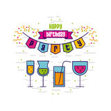 Happy birthday related icons image. Cocktails happy birthday related emblem or card image vector illustration design Royalty Free Stock Image