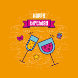 Happy birthday related icons image. Cocktails happy birthday related emblem or card image vector illustration design Stock Photo