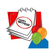 Happy birthday with reminder paper stock vector. EPS file available. see more images related royalty free illustration