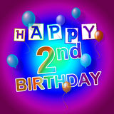 Happy Birthday Represents Celebrate 2Nd And 2 Royalty Free Stock Photos