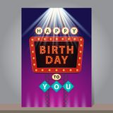 Happy Birthday retro billboard with glowing neon lights. Design. Template for greeting or invitation card. Vector illustration Royalty Free Stock Images
