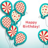 Happy birthday retro postcard with balloons Royalty Free Stock Photos