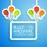 Happy birthday retro postcard with balloons. Royalty Free Stock Photography