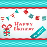Happy birthday retro postcard with dot textured Royalty Free Stock Images