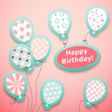 Happy birthday retro postcard with pattern. Balloons. Vector illustration for your feminine holiday presentation. Postcard picture in pink and blue colors Royalty Free Stock Images
