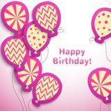 Happy birthday retro postcard with pattern. Balloons. Vector illustration for your feminine holiday presentation. Postcard picture in pink , white and yellow Royalty Free Stock Image