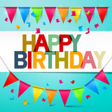 Happy Birthday Retro Vector Colorful Card Bunting with Flags Royalty Free Stock Photos