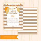 Happy Birthday Retro Vintage Composition in linear style with stripes. Original Hand Crafted Design. Royalty Free Stock Photos