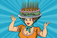 Happy birthday, retro woman and the hat cake Stock Photography