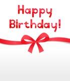 Happy Birthday Ribbon Bow. Happy Birthday card with Ribbon Bow Stock Photos