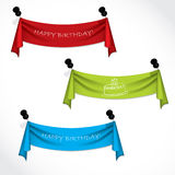 Happy birthday ribbons hanging Stock Images