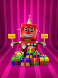 Happy Birthday Robot. Little happy vintage toy robot holding birthday signs with presents over pink background Stock Image